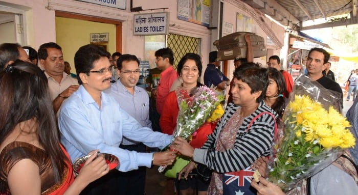 Deepak Narvekar PRO GDTC welcoming Passengers of the First Premium Holiday Special Train from  Mumbai  t