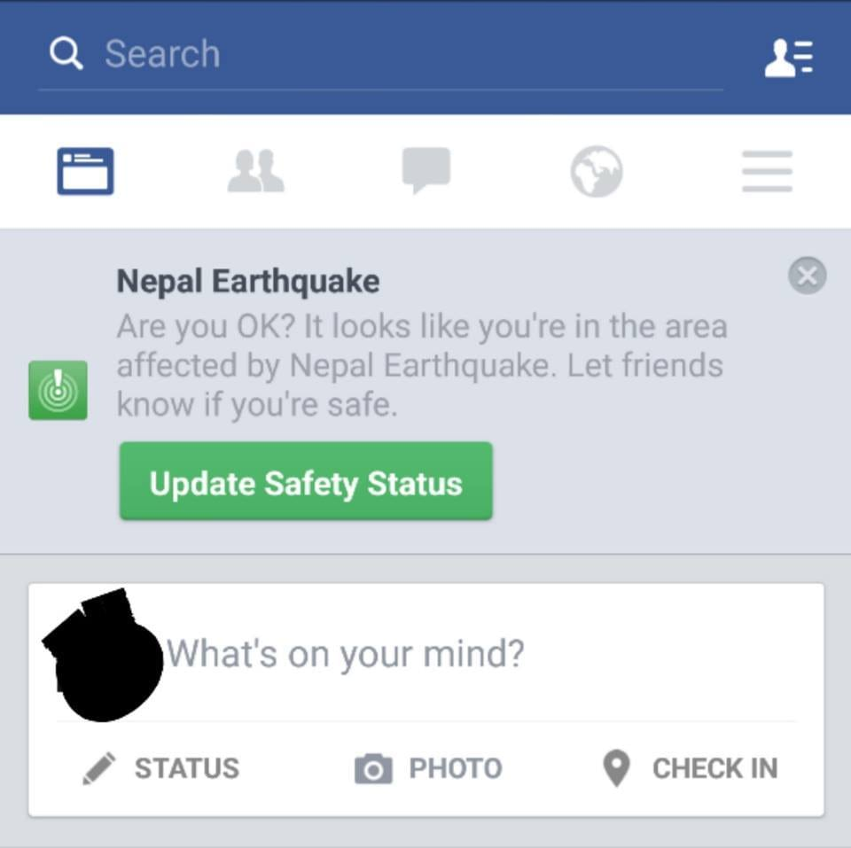 Now you can tell your friends you're safe via Facebook App ...