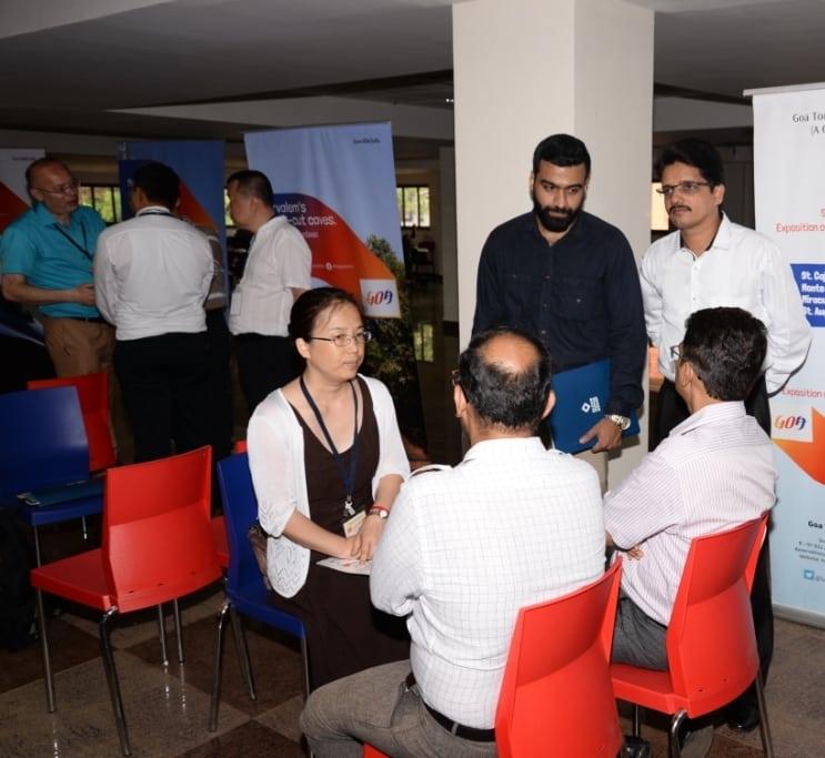 Ting Zhang Sales Manager, Air Arabia along with PRO,GTDC,Deepak Narvekar and Goan Tourism Trade members at B2B session at Paryatan Bhavan,Panjim