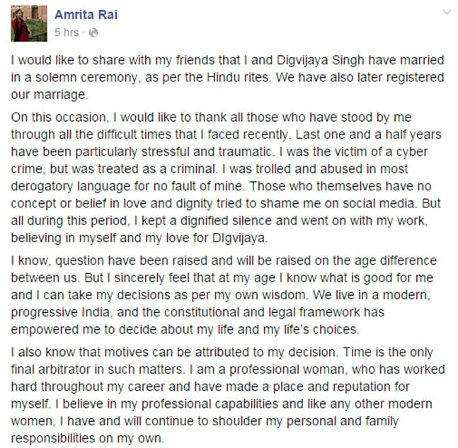 Letter Written by Amrita Rai which was Shared on social media after facing people's criticism pertaining to her relationship with Digvijaya Singh