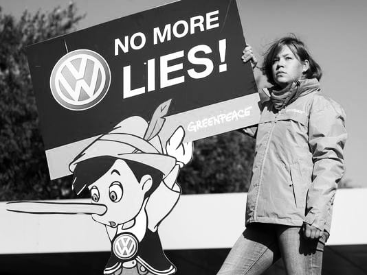 Diesel Dupe  Reacting to the expose that VW cars sold in America had a defeat device to mislead regulatory authorities on the low emission levels they had boasted about in a advertising blitz, the gr