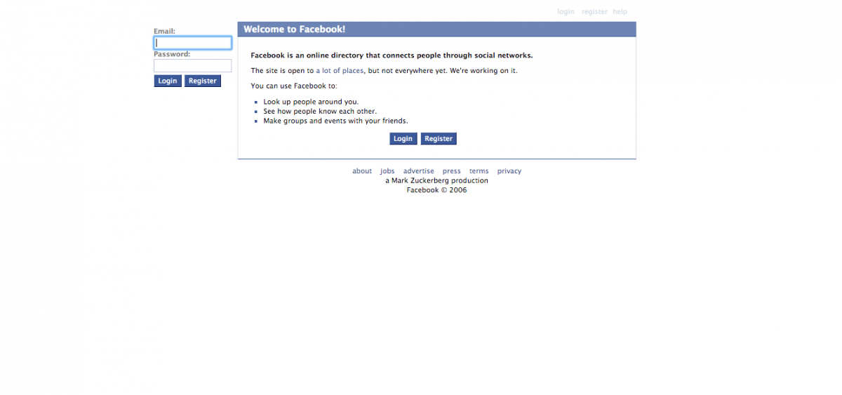 Facebook's homepage in 2006 was a stripped-back affair, doing away with the list of schools in favour of a simple login option. (Image used for the Representational purpose only)