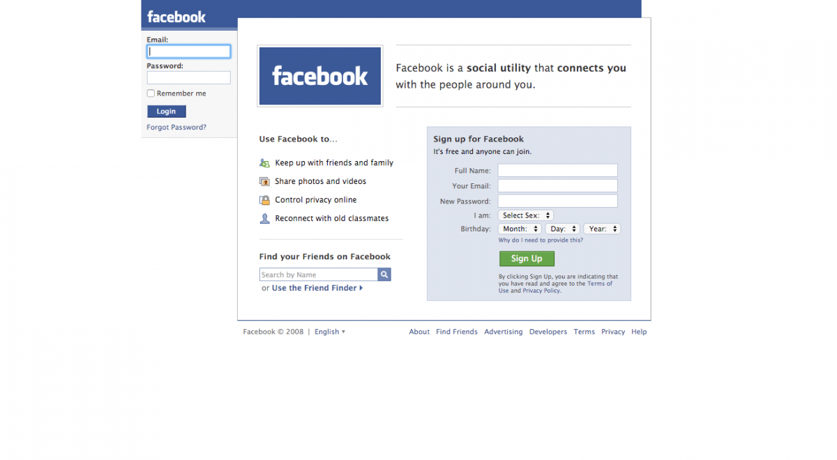 The Facebook of 2008 continued to refine the homepage and offered options for signing up. (Image used for the Representational purpose only)