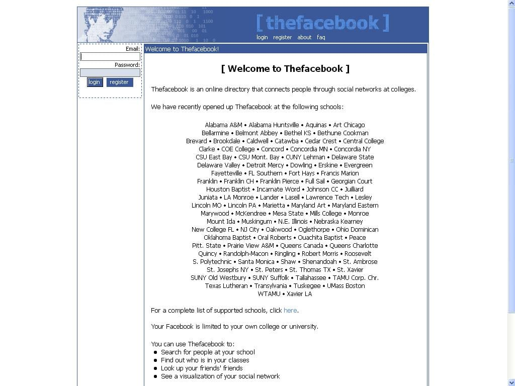The Facebook homepage in 2005 started listing all the schools in US. The social network was in making and it still had the photo of Al Pacino on the topbar. (Image used for the Representational purpose only)