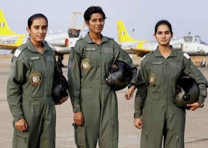 New Delhi:  The three cadets who will be inducted in the Indian Air Force on June 18 as the first batch of women fighter pilots. PTI Photo  (PTI3_8_2016_000351B)