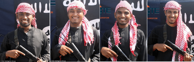 The terror group's media arm released images of the grinning gunmen along with a message saying: 'Let the people of the crusader countries know that there is no safety for them as long as their aircraft are killing Muslims'