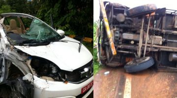 Serious accident in Verna involving a trailor and two cars, three seriously injured