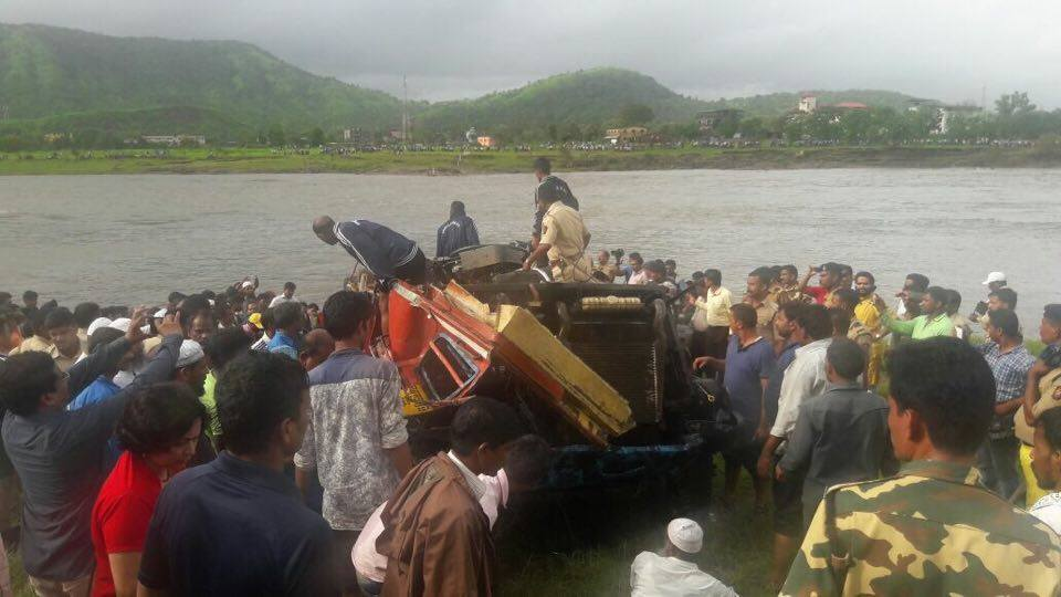 wreckage of Bus in Mahad Accident recovered