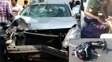 18-year-old girl dashed by speeding Car on Sancoale Goa highway, girl is critical, car badly damaged