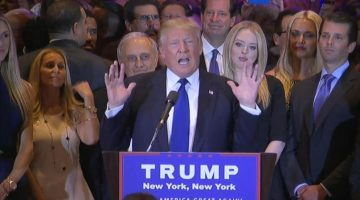 Donald Trump delivers gracious speech after defeating Hillary Clinton