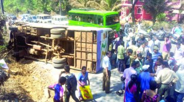 School Bus Accident in Curchorem, 17 Students Injured as The Bus Turned After The Failure in Braking System