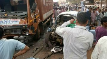 DEADLY ACCIDENT BETWEEN CAR AND TRUCK AT OLD GOA 5 PEOPLE DIED ON THE SPOT AND THREE SERIOUSLY INJURED