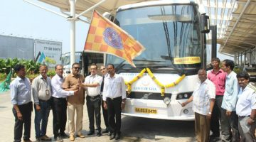GOA TOURISM IN ASSOCIATION WITH KTCL LAUNCHED A LUXURY BUS SERVICE FROM DABOLIM AIRPORT TO CALANGUTE VIA PANAJI TO SERVE THE TOURISTS COMING TO GOA