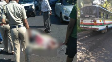 DEADLY ACCIDENT AT DHARMAPUR IN NAVELIM, THE PULSAR RIDER CRUSHED TO DEATH UNDER THE LOCAL BUS