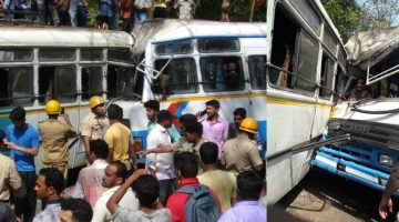 KADAMBA RAMS INTO THE PRIVATE BUS AT FARMAGUDI GOA – RECKLESS DRIVING IS THE CAUSE OF AN ACCIDENT